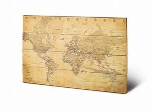 Bild Auf Holz : bild auf holz karte von welt weltkarte antik bei europosters ~ Frokenaadalensverden.com Haus und Dekorationen