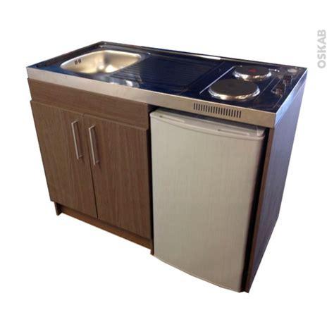 bloc cuisine evier frigo plaque kitchenette électrique meuble sous évier décor bois avec