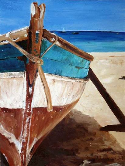Boat Painting Paintings Beach Canvas Seascape Rustic