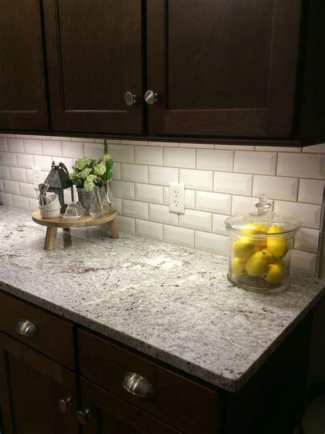 beveled tile backsplash  quartz kitchen remodel