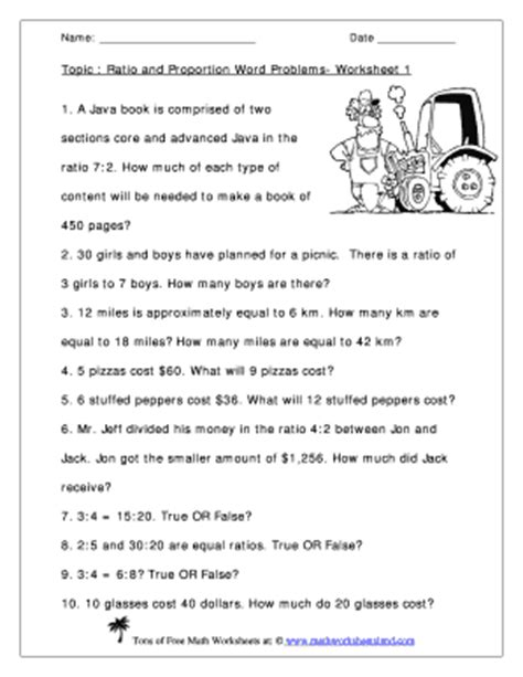 ratio and proportion word problems worksheet 1 answers