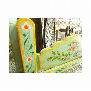 Tete De Lit Indienne : paravent indien t te de lit en bois avec motifs fleurs bleues ~ Teatrodelosmanantiales.com Idées de Décoration