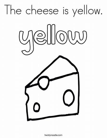 Cheese Coloring Yellow Outline Twistynoodle Ll Block