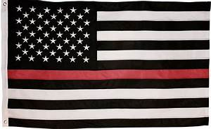 Thin Red Line Flag - 3X5 Foot with Embroidered Stars and ...