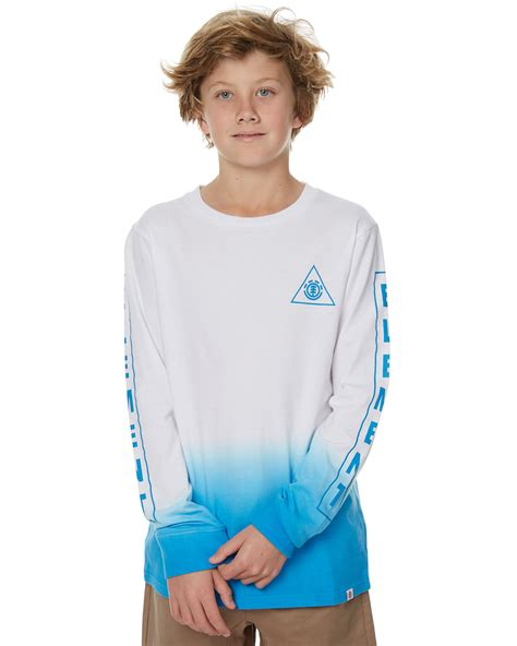 blue and white ls element kids boys apex ls tee white blue surfstitch