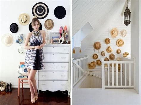 fun wall decorating  hats adds unique accents  home interiors