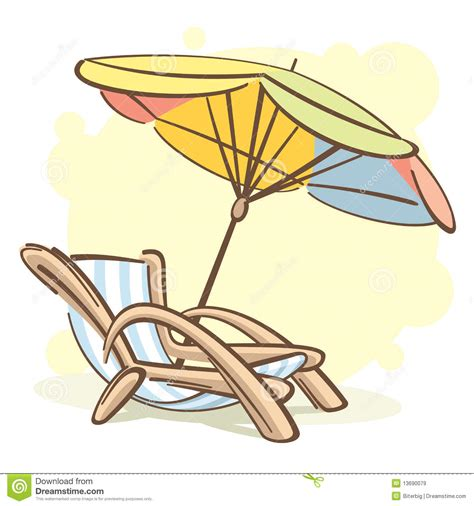 dessin chaise chaise longue and parasol stock vector illustration of