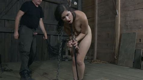 Black Haired Submissive Teen Gets Mouth Fucked By Her Bdsm