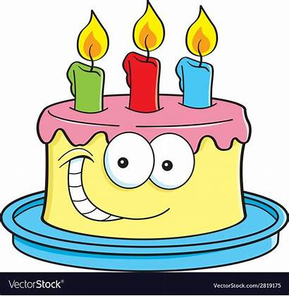 Cake Cartoon Candles Cakes Vector Birthday Happy