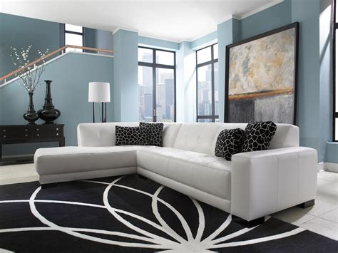White Sectional Living Room Ideas by Mid Century White Leather Tufted Sectional Chaise Lounge