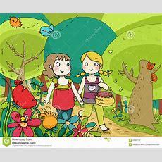 Two Little Friends Walking N The Wood Stock Illustration