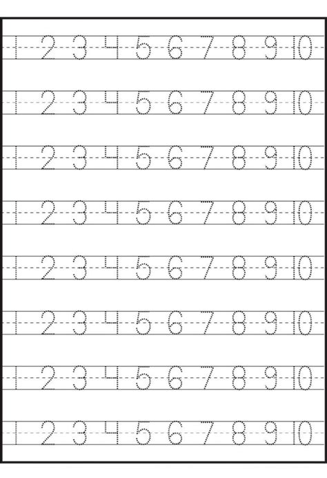 number trace worksheets kiddo shelter