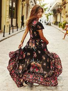 boho maxi dress v neck short sleeve high split front long With robe femme solde