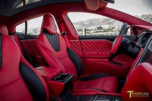 Custom Bentley Red Model S 2.0 Interior - Gloss Carbon Fiber Trim – T Sportline - Tesla Model S ...