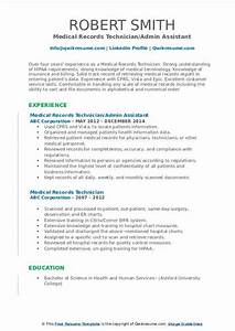 Resume Objective For Internship Medical Records Technician Resume Samples Qwikresume