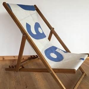 Transat En Bois : transat chaise longue pliante bois en voile de bateau ~ Teatrodelosmanantiales.com Idées de Décoration