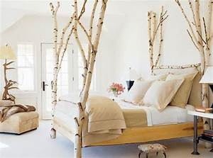 Bett Aus Baumstämmen : originelles schlafzimmer mit birkenst mmen als beinen des ~ A.2002-acura-tl-radio.info Haus und Dekorationen