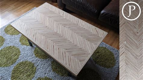 In the solid wood face, the piece was first passed over a jointer. I made a plywood endgrain herringbone table top | Table ...