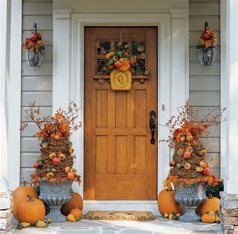 Fall Porch Displays by Front Door Fall