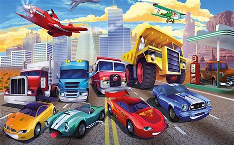 great art wallpaper childrens room cars planes race cars