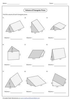 Triangular Prism Surface Area Worksheet Worksheets For All  Download And Share Worksheets