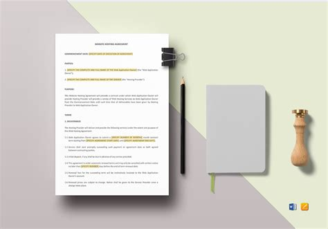 website hosting agreement template  word apple pages