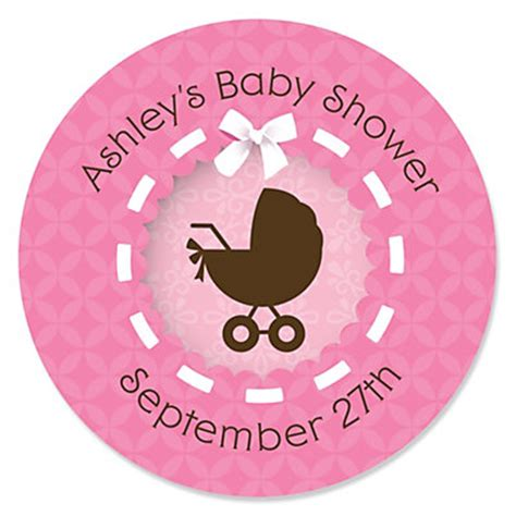 Personalized Stickers For Baby Shower - baby carriage personalized baby shower sticker
