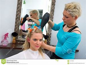 Hair stylist at work stock image. Image of shop, making ...