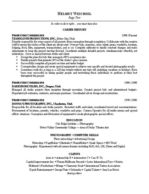Sle Resume Objectives For by Photographer Resume Objective 28 Images Photographer Resume Tv News Photographer Free