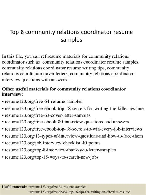 Resume Objective For Relations Coordinator by Top 8 Community Relations Coordinator Resume Sles