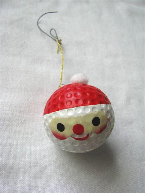 vintage painted santa face golf ball holiday ornament