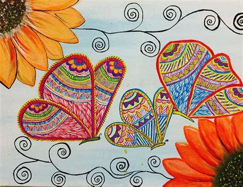 colorful butterfly in madhubani painting by anuradha kumari