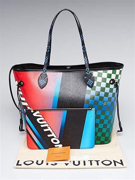 louis vuitton limited edition damier canvas neverfull mm race print bag yoogis closet