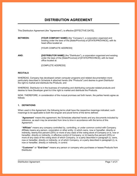 exclusive distribution agreement template purchase