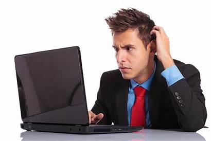 Confused Laptop Business Looks Lost Guy Site
