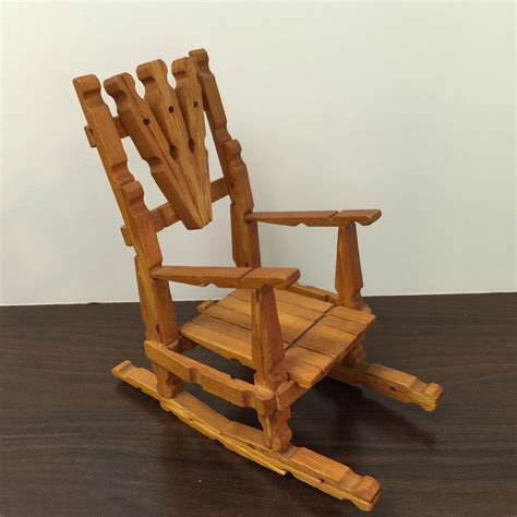 vintage handmade wood rocking chair doll house