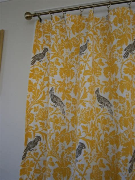 designer fabric shower curtain yellow white taupe by