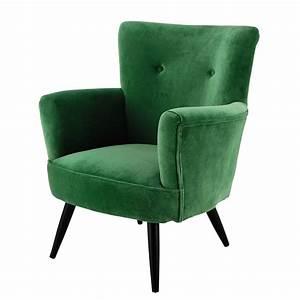 Fauteuil Maison Du Monde : fauteuil en velours vert sao paulo maisons du monde ~ Teatrodelosmanantiales.com Idées de Décoration