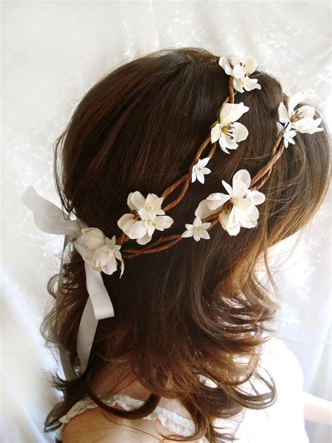 diy bridal hair band rustic chic wedding wreath bo peep ivory flower hair
