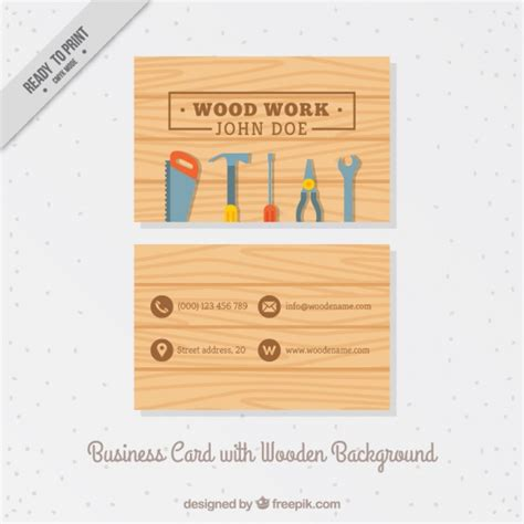 Business card with carpentry tools Vector Free Download