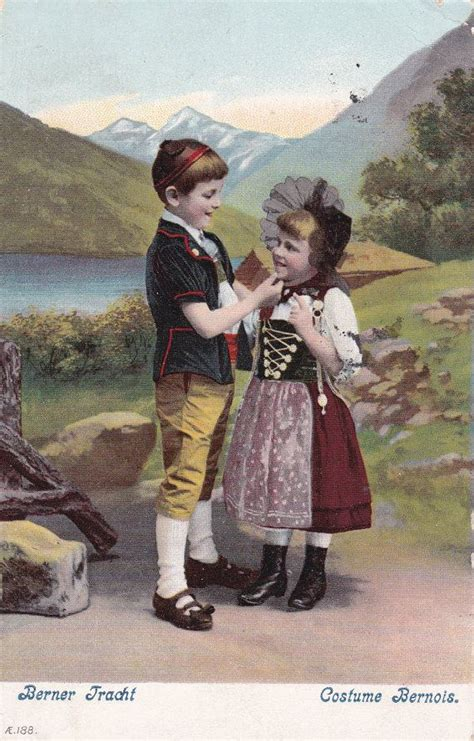 vintage postcard swiss children  bernese traditional