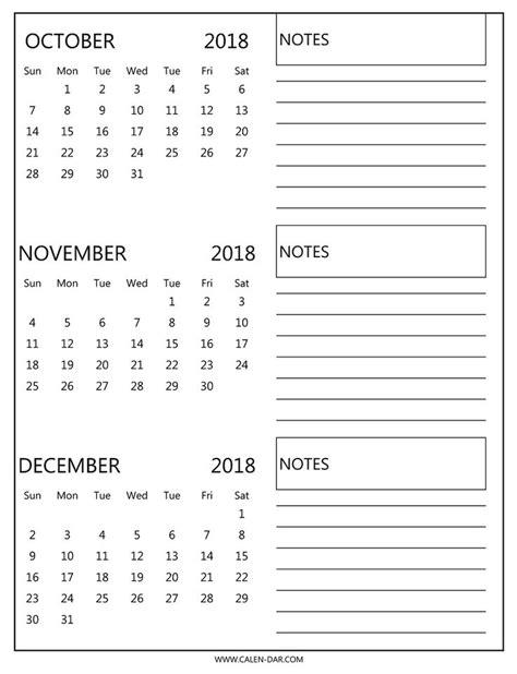 blank october november december  calendar  notes