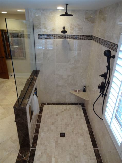 multiple shower head system spaces  built  bench