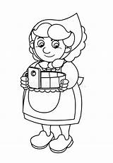 Coloring Cartoon Jumping Farmer Outline Standing Woman Coloration Scene Fille Heureuse Sautante Vector Contour Looking Happy Garden Noir sketch template