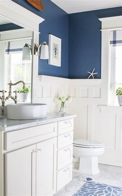 navy blue bathroom ideas navy blue and white bathroom saw nail and paint