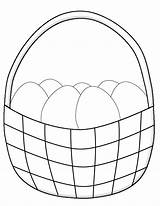 Easter Basket Coloring Eggs Pages Simple Printable Crafts Egg Drawing Bunny Children Fun Paper Sheets Printables sketch template