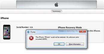 how to fix itunes error 4005 when restore iphone