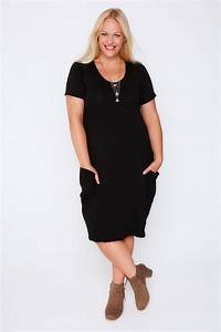 Black Jersey Dress With Drop Pockets Plus Size 16 to 36