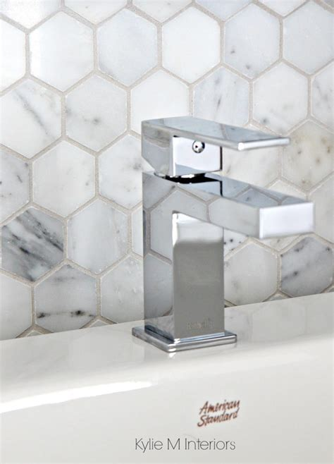 Marble hexagon pattern backsplash tile, mosaic. Shown with