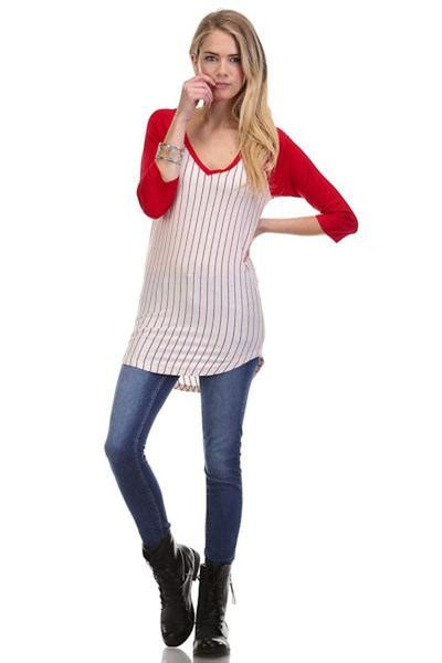 women casual pin striped solid  neck  sleeve tunic
